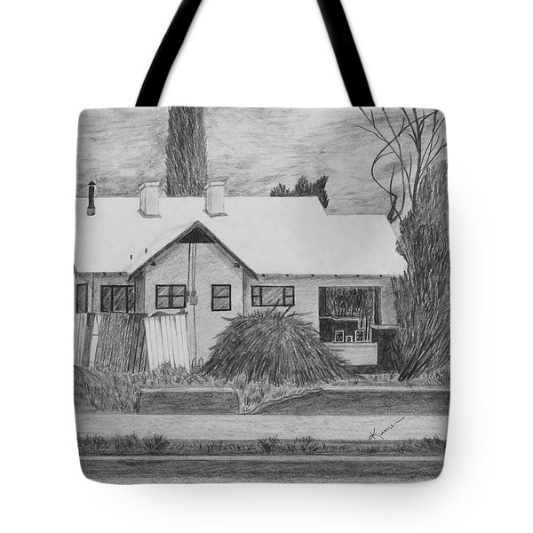 Tote Bag featuring the drawing The House Across by Kume Bryant