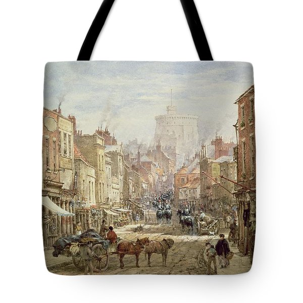 The Household Cavalry In Peascod Street Windsor Tote Bag by Louise J Rayner