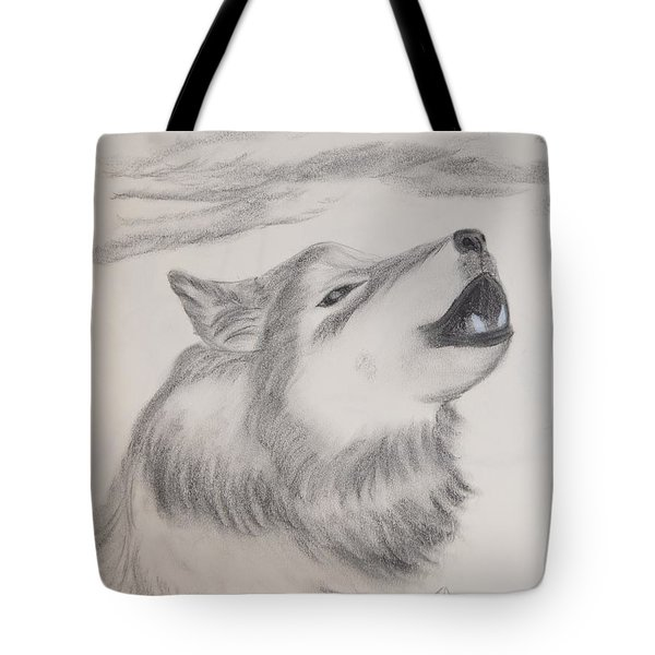 Tote Bag featuring the drawing The Howler by Maria Urso