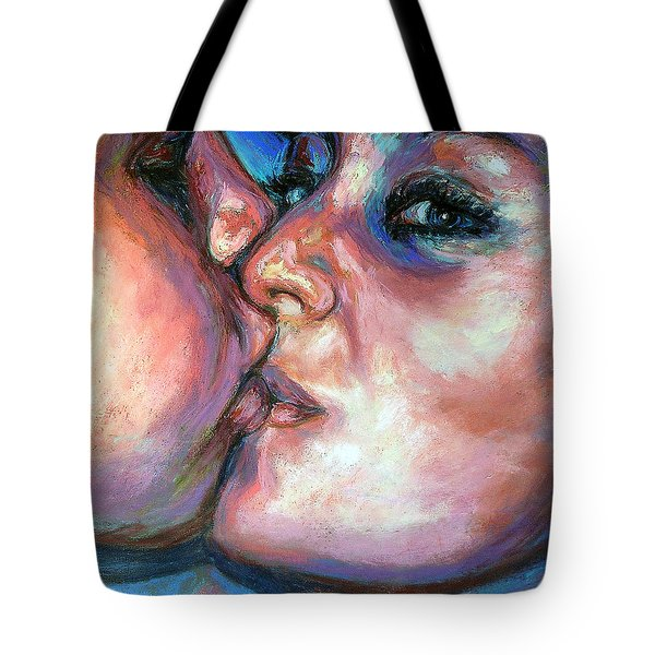 Tote Bag featuring the pastel The Kiss by Li Newton