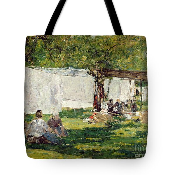 The Laundry At Collise St. Simeon  Tote Bag by Eugene Louis Boudin