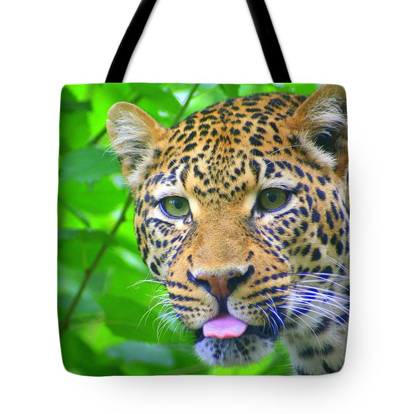 Tote Bag featuring the photograph The Leopard's Tongue by Laurel Talabere