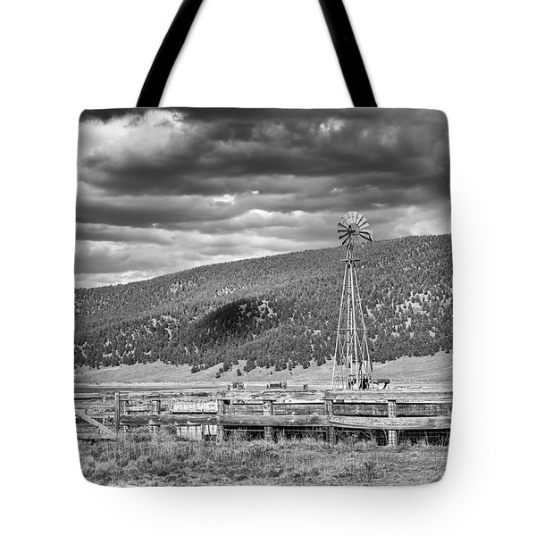 the lonly windmill in B and W Tote Bag