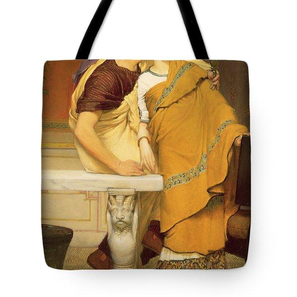 The Mirror Tote Bag by Sir Lawrence Alma-Tadema