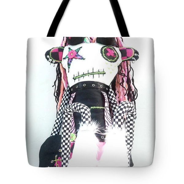 The Misfit Cyberpunk Pussy Cat Jones Version 1.0 Tote Bag by Oddball Art Co by Lizzy Love