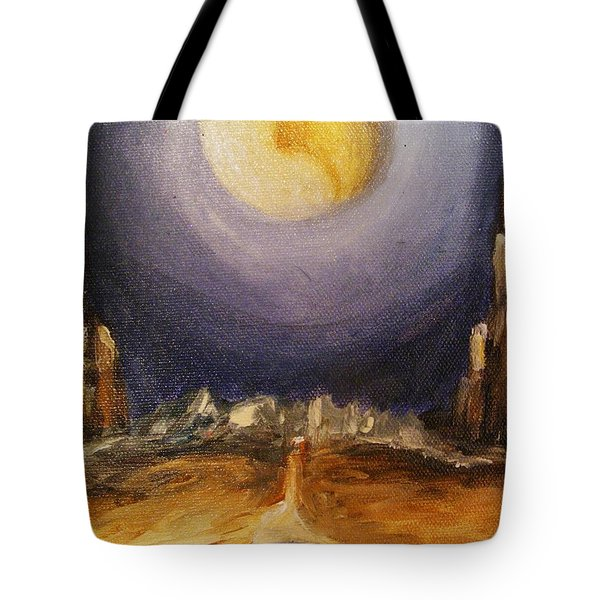 Tote Bag featuring the painting the Moon by Karen  Ferrand Carroll