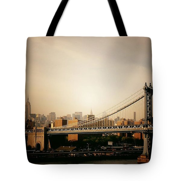 The New York City Skyline And Manhattan Bridge At Sunset Tote Bag by Vivienne Gucwa