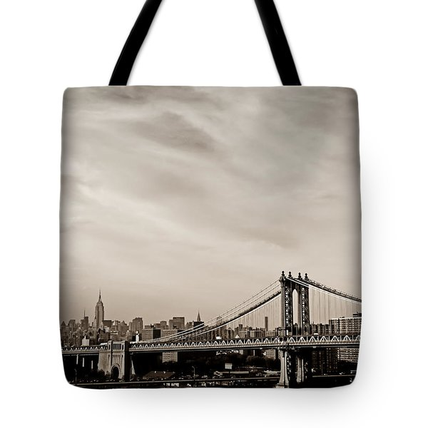 The New York City Skyline And The Manhattan Bridge Tote Bag by Vivienne Gucwa