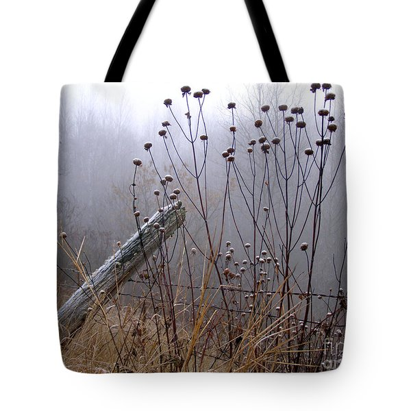 The Old Fence - Blue Misty Morning Tote Bag by Angie Rea