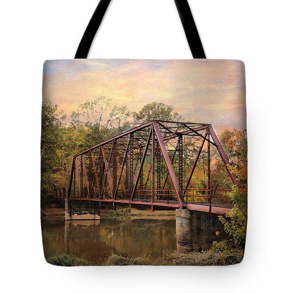 The Old Iron Bridge Tote Bag by Jai Johnson