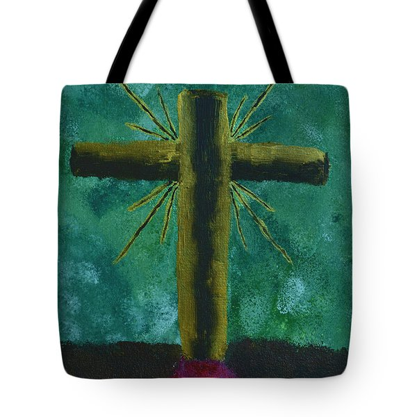 Tote Bag featuring the painting The Old Rugged Cross by Donna Brown