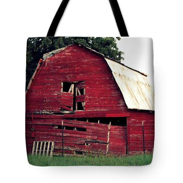 Tote Bag featuring the photograph The Ole Red Barn by Kathy  White