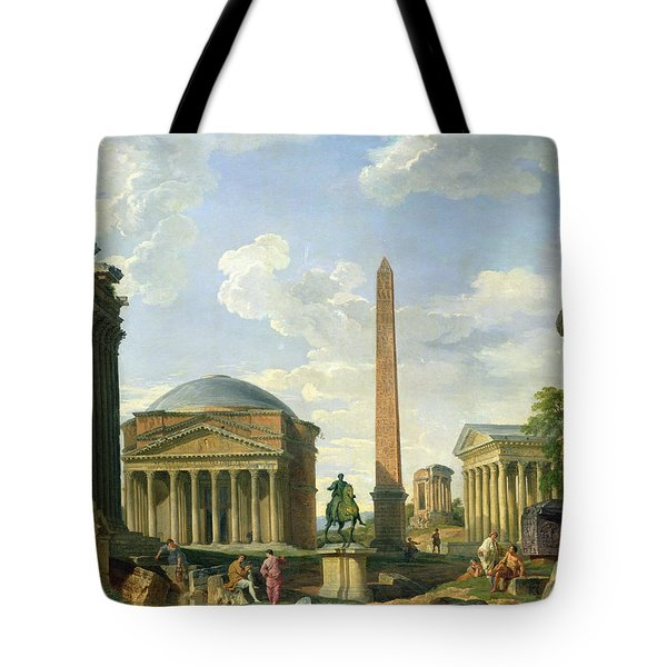 The Pantheon And Other Monuments 1735 Tote Bag by Giovani Paolo Panini