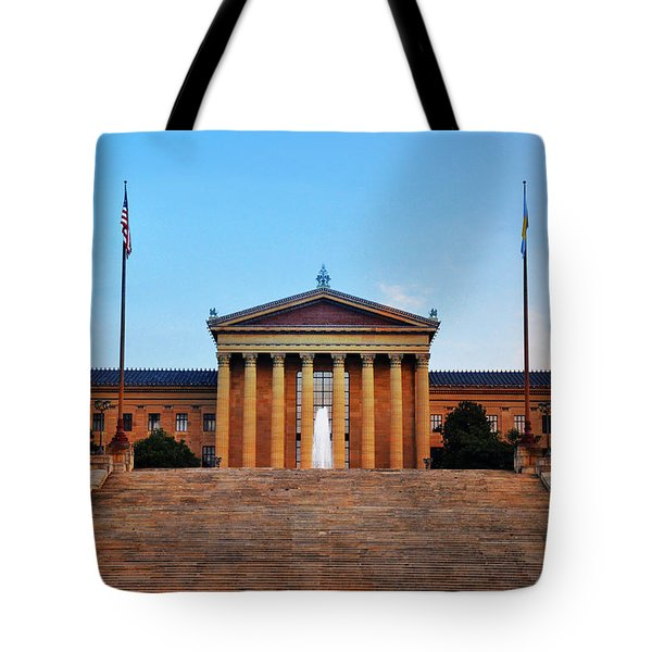 The Philadelphia Museum Of Art Front View Tote Bag by Bill Cannon