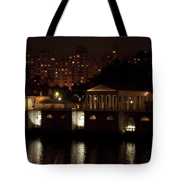 The Philadelphia Waterworks All Lit Up Tote Bag by Bill Cannon