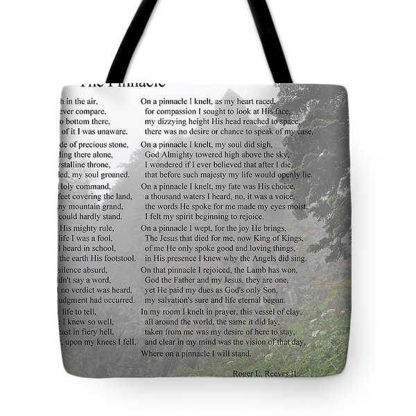 Tote Bag featuring the photograph The Pinnacle by Tikvah's Hope