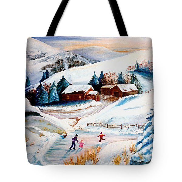 The Pond In Winter Tote Bag by Renate Nadi Wesley