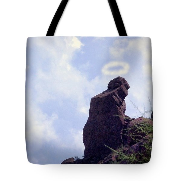 The Praying Monk With Halo - Camelback Mountain - Painted Tote Bag by James BO  Insogna
