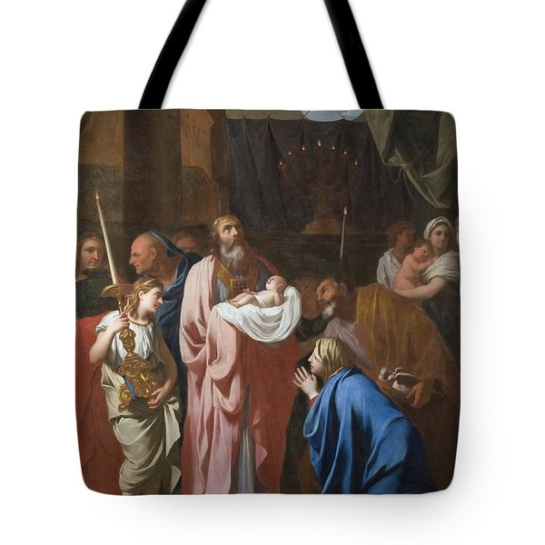 The Presentation Of Christ In The Temple Tote Bag by Charles Le Brun