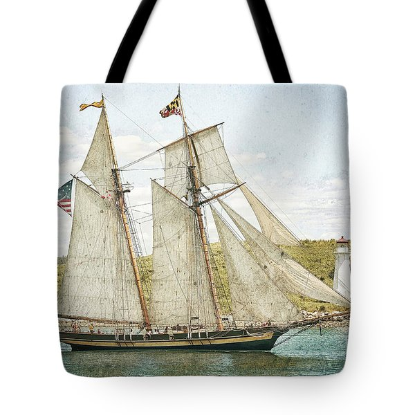 Tote Bag featuring the photograph The Pride Of Baltimore In Halifax by Verena Matthew