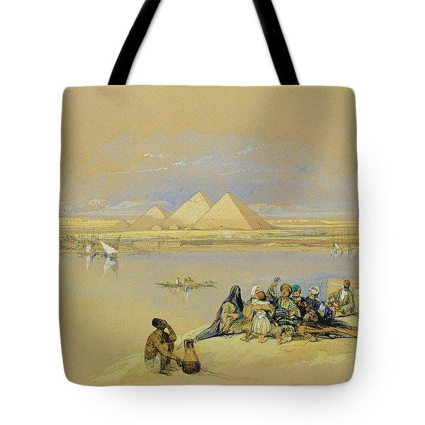The Pyramids At Giza Near Cairo Tote Bag by David Roberts