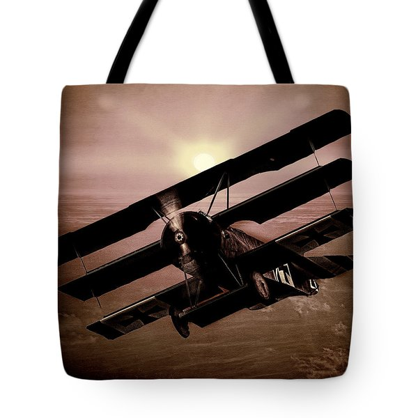Tote Bag featuring the photograph The Red Baron's Fokker At Sunset by Chris Lord