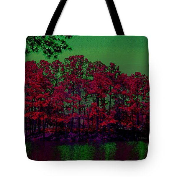 Tote Bag featuring the photograph The Red Forest by Donna Bentley