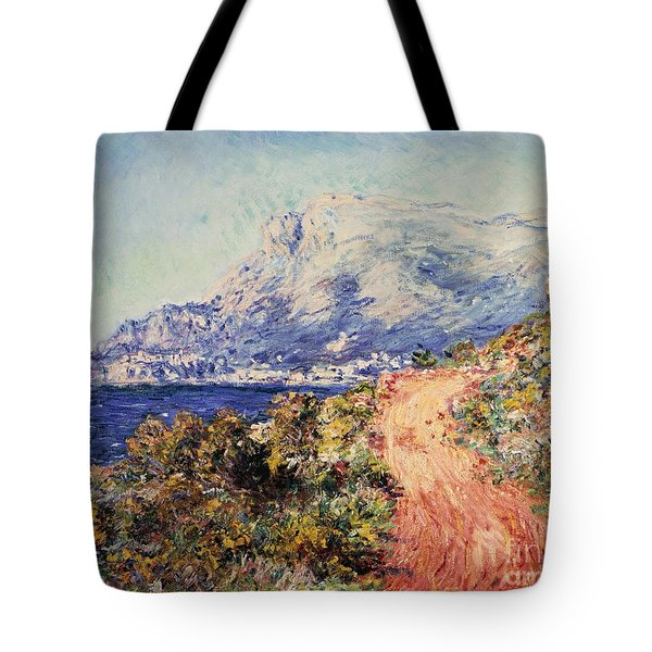 The Red Road Near Menton Tote Bag by Claude Monet