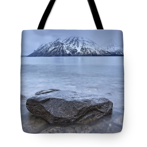 The Shoreline Of Kathleen Lake In Late Tote Bag by Robert Postma