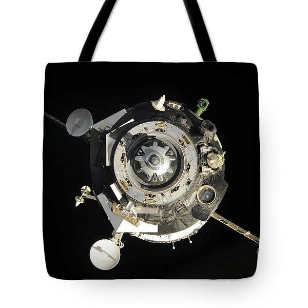 The Soyuz Tma-17 Spacecraft Departs Tote Bag by Stocktrek Images