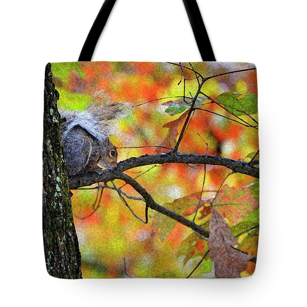 Tote Bag featuring the photograph The Squirrel Umbrella by Paul Mashburn