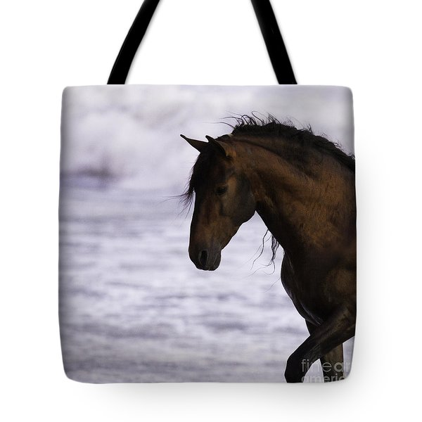 The Stallion And The Ocean Tote Bag by Carol Walker