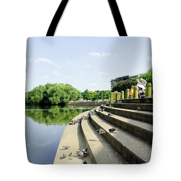 The Steps Of Derby River Gardens Tote Bag by Rod Johnson