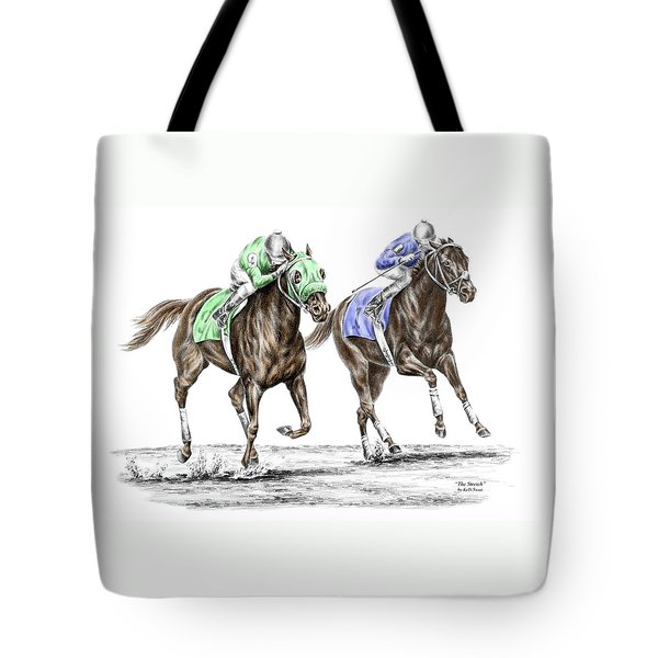 The Stretch - Tb Horse Racing Print Color Tinted Tote Bag