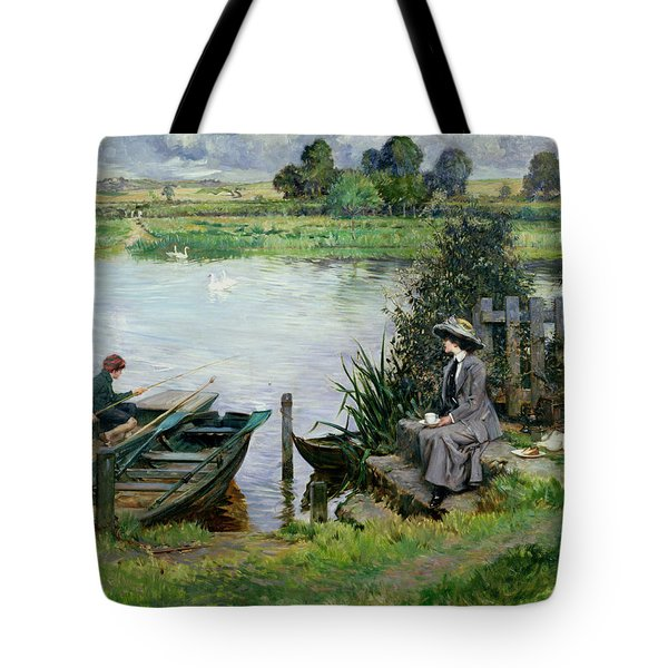 The Thames At Benson Tote Bag by Albert Chevallier Tayler