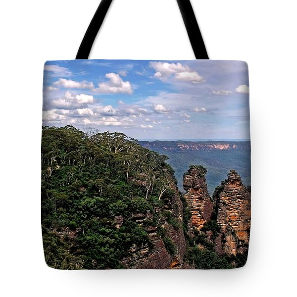 The Three Sisters - The Blue Mountains Tote Bag by Kaye Menner