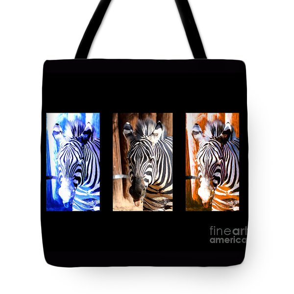 Tote Bag featuring the photograph The Three Zebras Black Borders by Rebecca Margraf