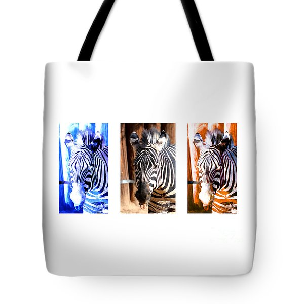 Tote Bag featuring the photograph The Three Zebras White Borders by Rebecca Margraf