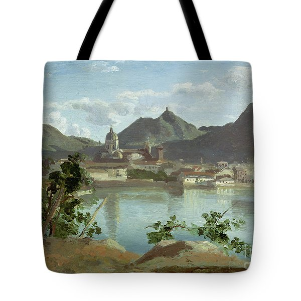 The Town And Lake Como Tote Bag by Jean Baptiste Camille Corot