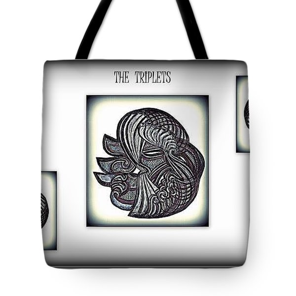 Tote Bag featuring the drawing The Triplets by Danielle  Parent