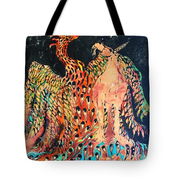 The Unicorn And Phoenix Rise From The Earth Tote Bag by Carol Law Conklin
