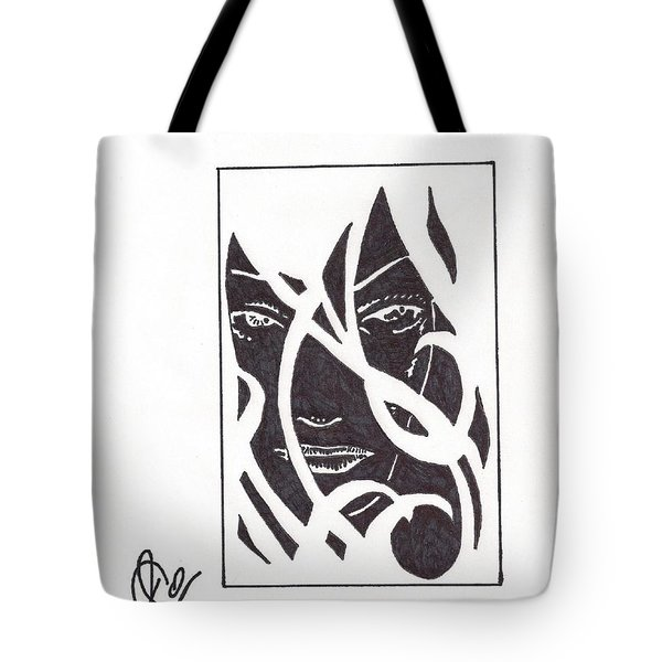 Tote Bag featuring the drawing The Unkown Woman by Jeremiah Colley