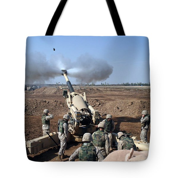 The U.s. Marine Corps M-198 155mm Tote Bag by Stocktrek Images