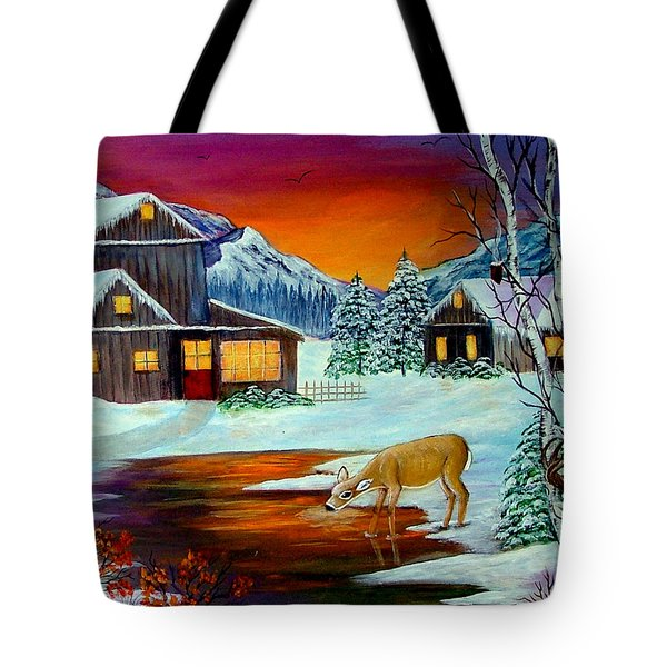Tote Bag featuring the painting The Visitors by Fram Cama