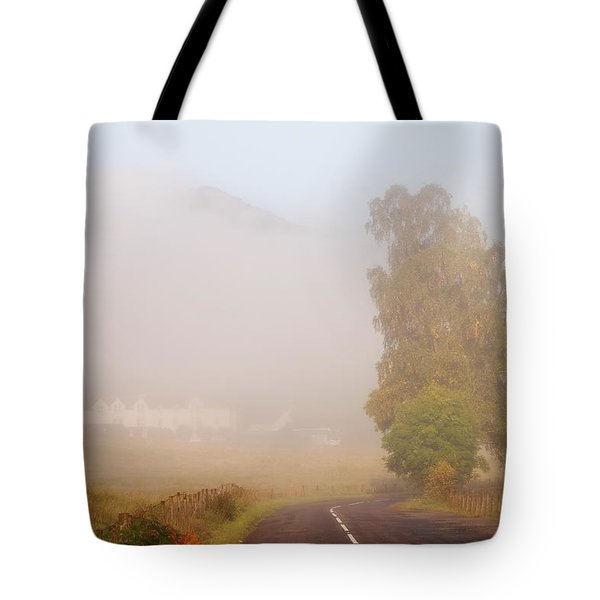 The Way To Never Never Land. Misty Roads Of Scotland Tote Bag by Jenny Rainbow