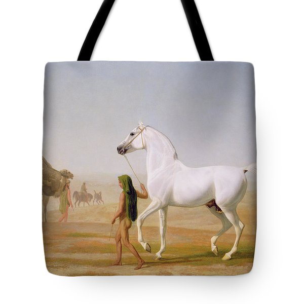 The Wellesley Grey Arabian Led Through The Desert Tote Bag by Jacques-Laurent Agasse