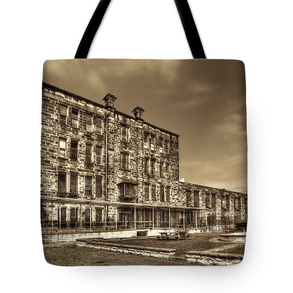 The West Virginia State Penitentiary Backside Tote Bag by Dan Friend