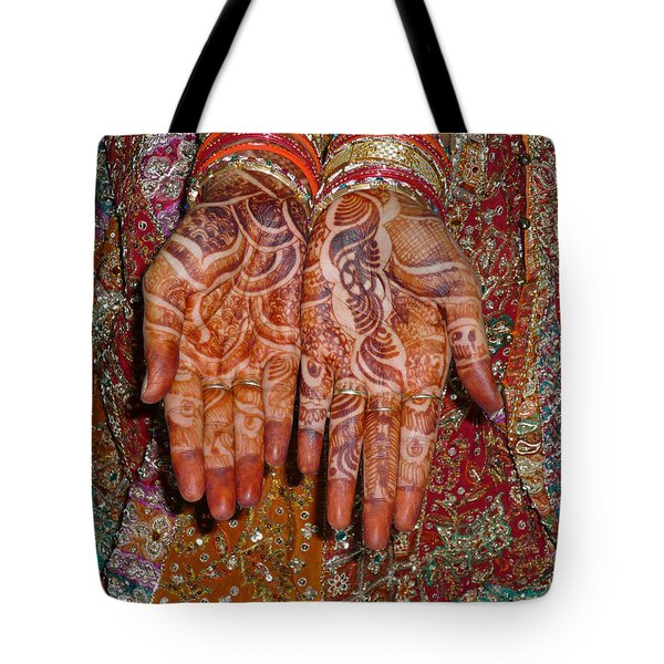 The Wonderfully Decorated Hands And Clothes Of An Indian Bride Tote Bag