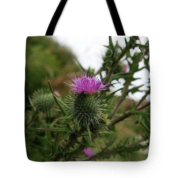 Tote Bag featuring the photograph Thistle Bloom by Lorraine Devon Wilke