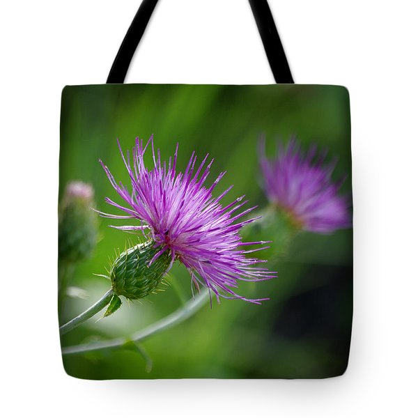 Tote Bag featuring the photograph Thistle Dance by Vicki Pelham